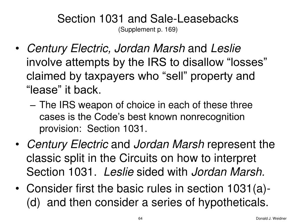 Section 1031 and Sale-Leasebacks
