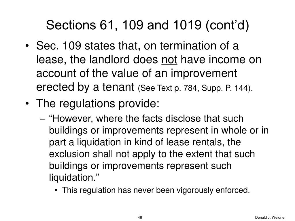 Sections 61, 109 and 1019 (cont'd)