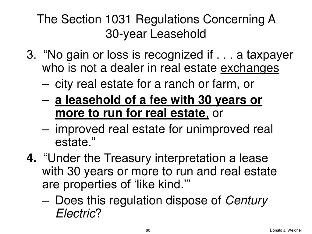 The Section 1031 Regulations Concerning A 30-year Leasehold