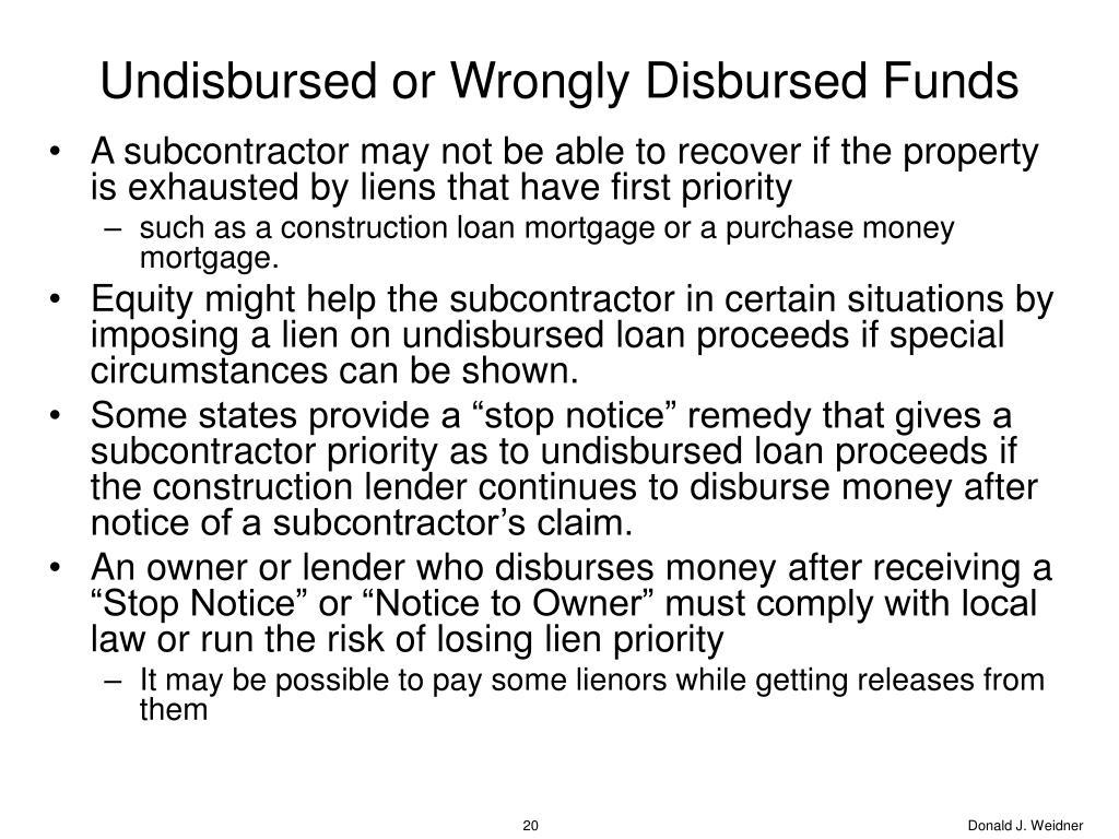 Undisbursed or Wrongly Disbursed Funds