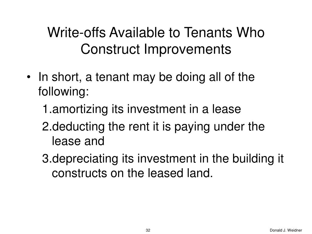 Write-offs Available to Tenants Who Construct Improvements