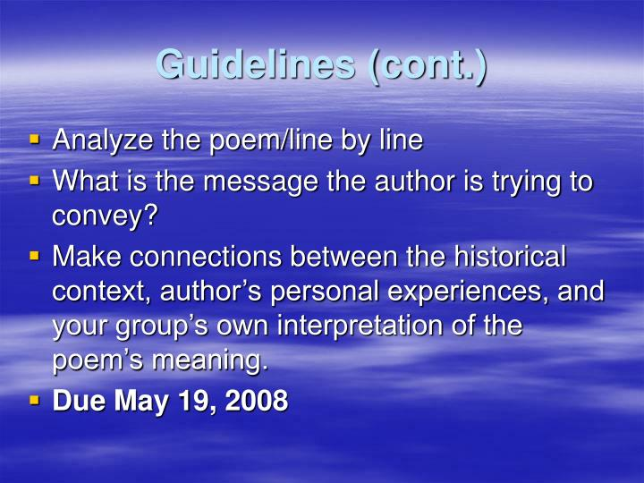 Guidelines (cont.)
