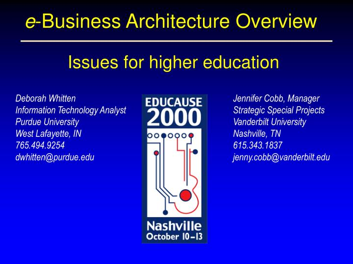 e business architecture overview n.