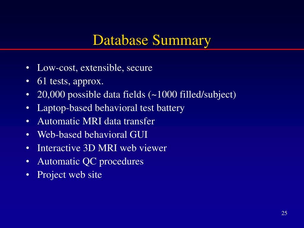 Database Summary