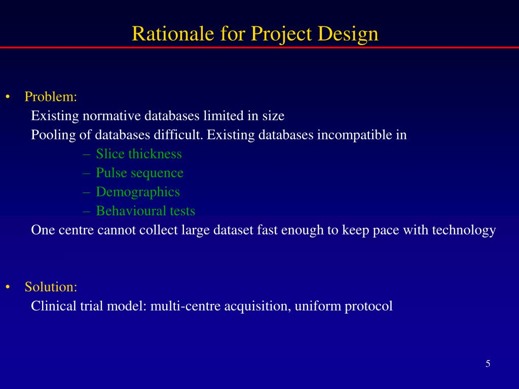 Rationale for Project Design