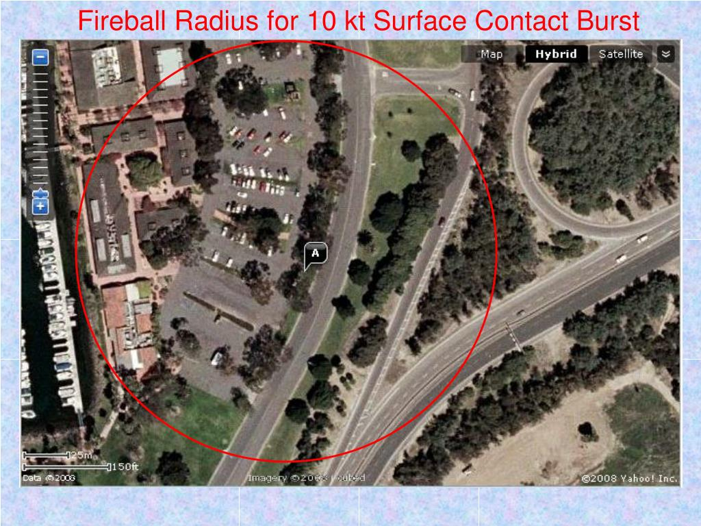 Fireball Radius for 10 kt Surface Contact Burst