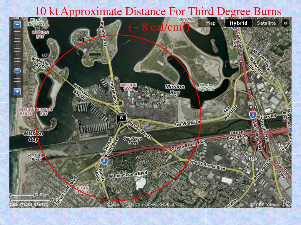 10 kt Approximate Distance For Third Degree Burns