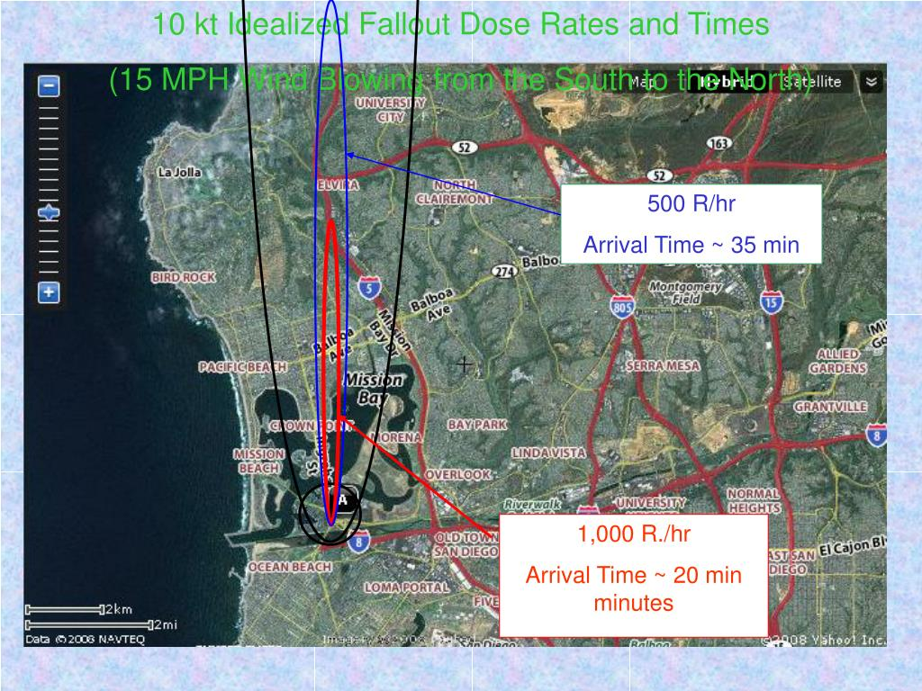 10 kt Idealized Fallout Dose Rates and Times