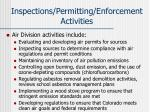 inspections permitting enforcement activities