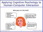 applying cognitive psychology to human computer interaction