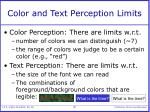 color and text perception limits