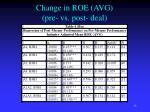 change in roe avg pre vs post deal