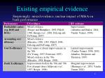existing empirical evidence