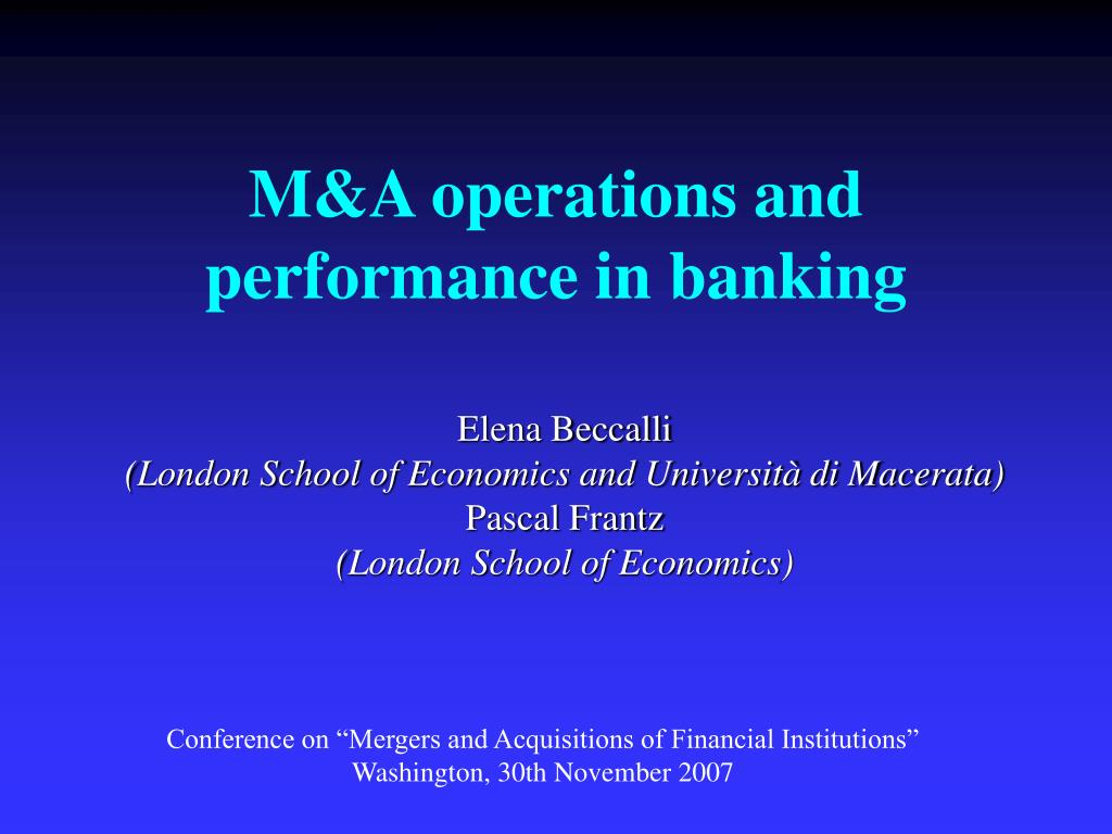 m a operations and performance in banking l.