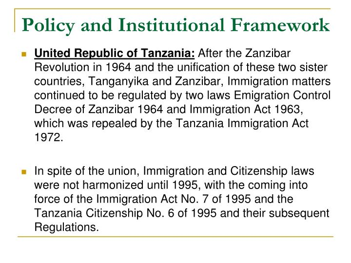 Policy and Institutional Framework