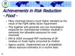 achievements in risk reduction food