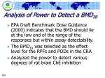analysis of power to detect a bmd 10