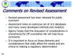 comments on revised assessment