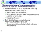 drinking water characterization
