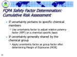 fqpa safety factor determination cumulative risk assessment