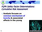 fqpa safety factor determinations cumulative risk assessment