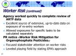 worker risk continued