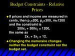 budget constraints relative prices54