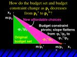 how do the budget set and budget constraint change as p 1 decreases from p 1 to p 134