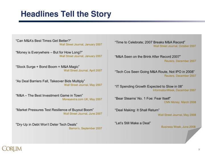Headlines tell the story