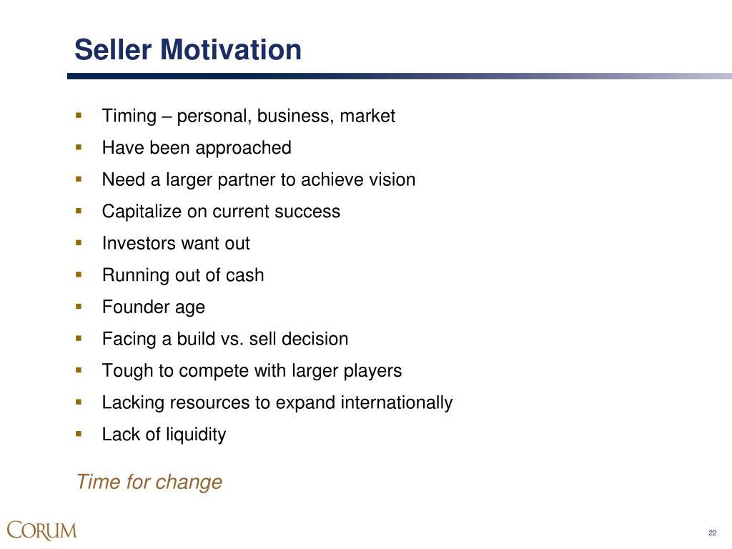 Seller Motivation