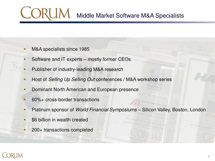 Middle Market Software M&A Specialists