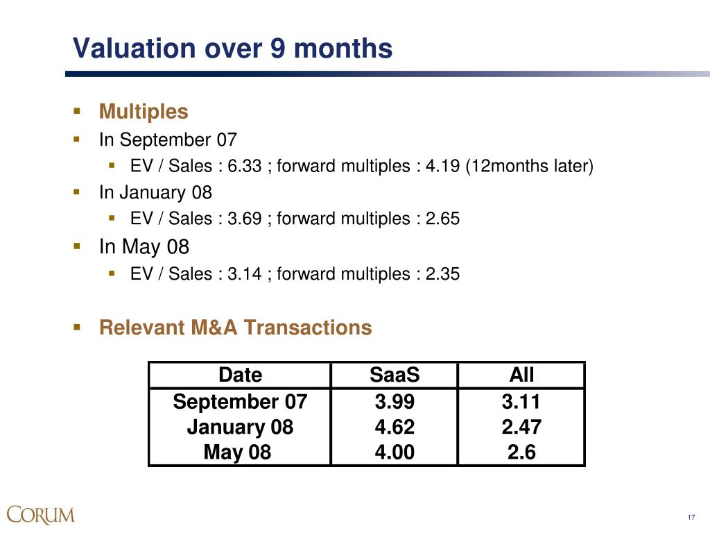 Valuation over 9 months