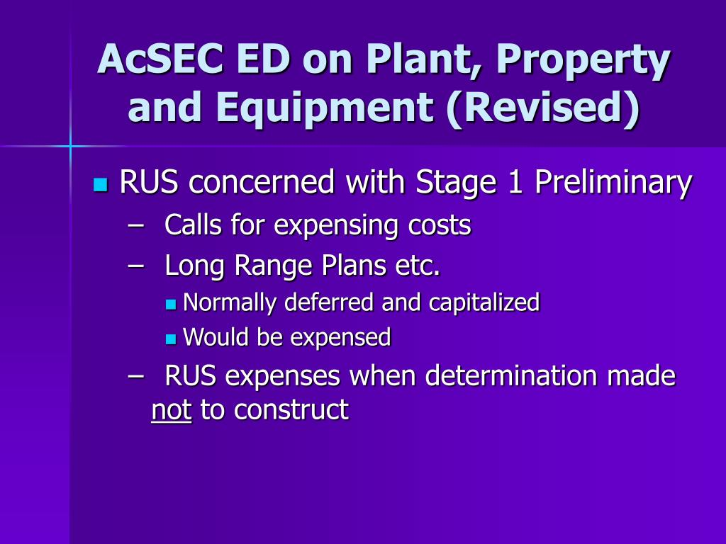 AcSEC ED on Plant, Property and Equipment (Revised)