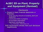 acsec ed on plant property and equipment revised26