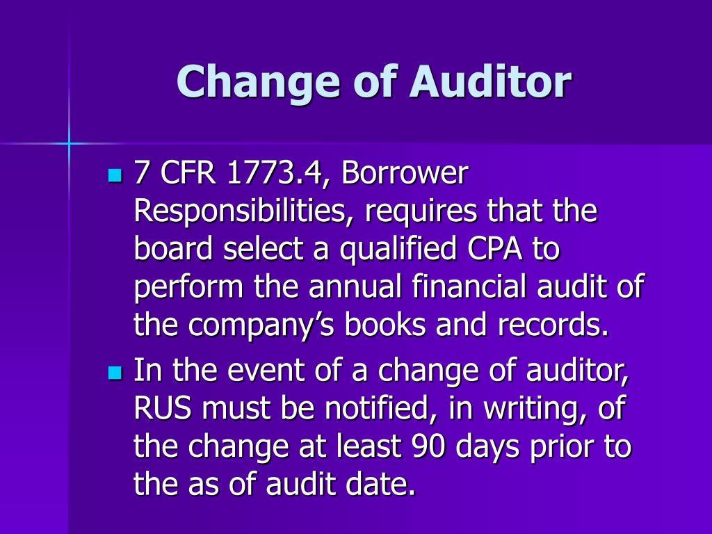 Change of Auditor