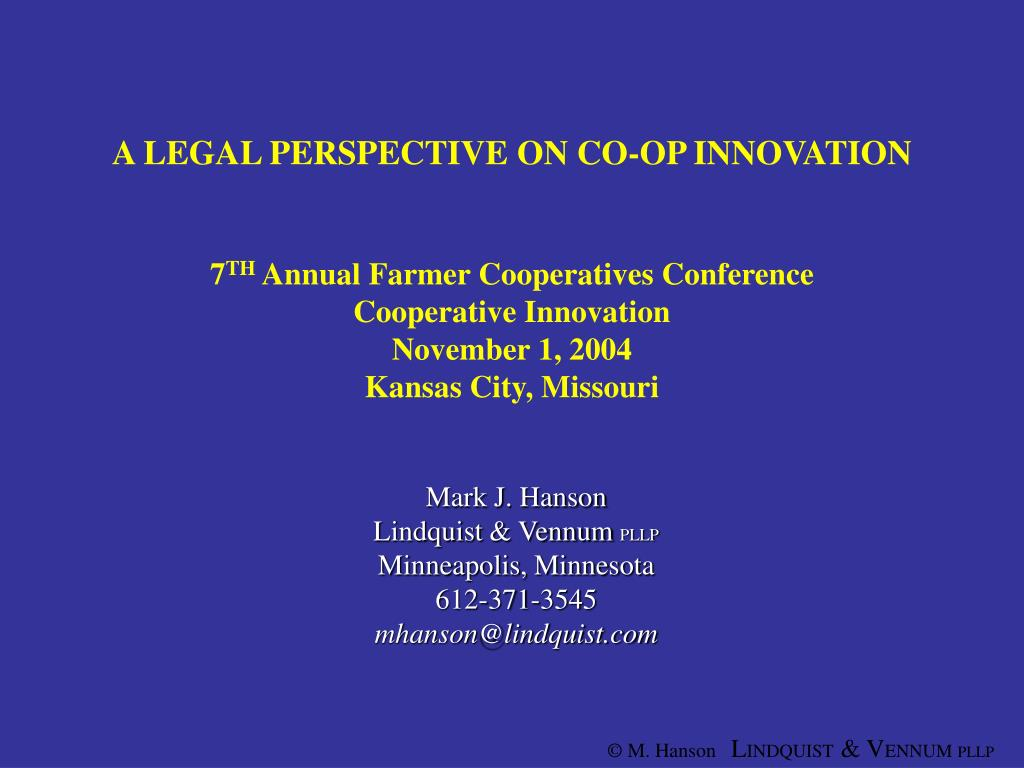 A LEGAL PERSPECTIVE ON CO-OP INNOVATION