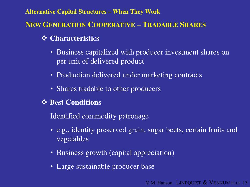 Alternative Capital Structures – When They Work