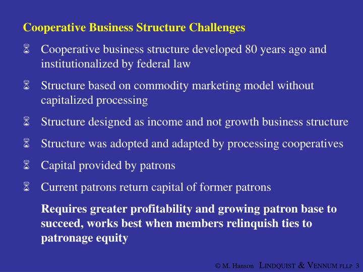 Cooperative Business Structure Challenges
