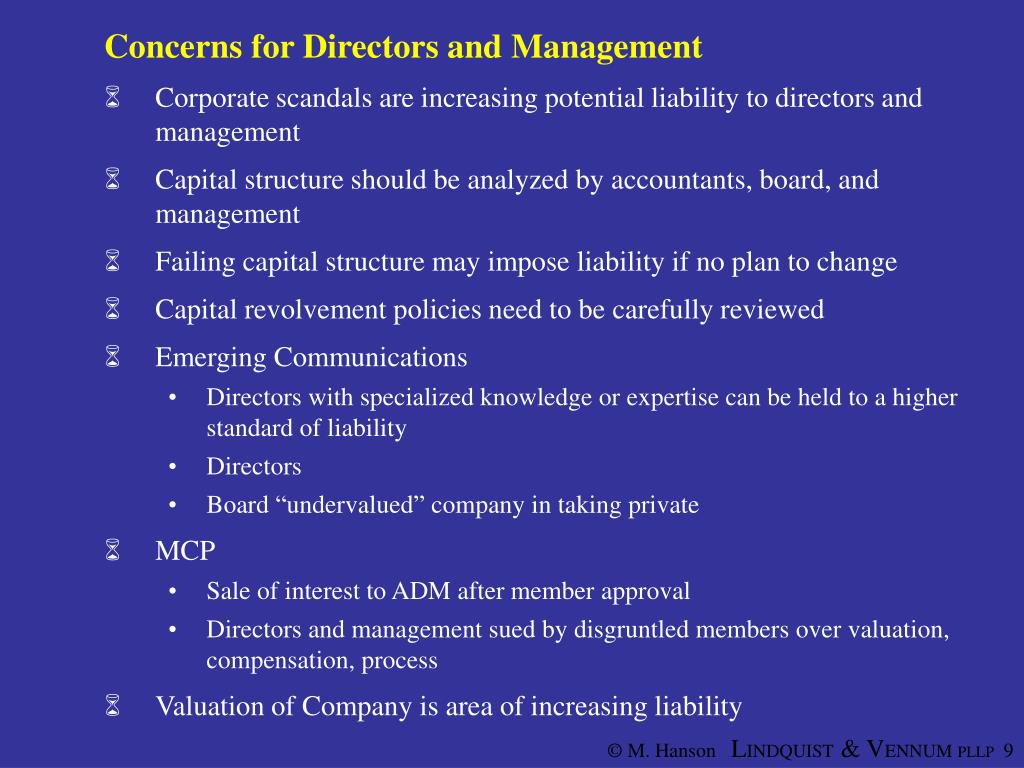 Concerns for Directors and Management