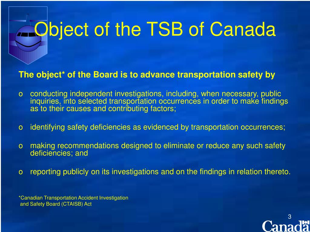 Object of the TSB of Canada
