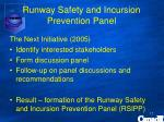 runway safety and incursion prevention panel