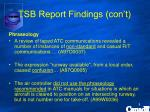 tsb report findings con t