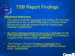 tsb report findings