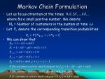 markov chain formulation