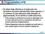 d fragmentation of m