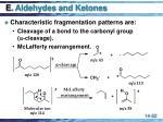e aldehydes and ketones