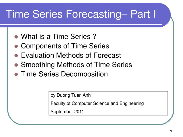 time series forecasting part i n.