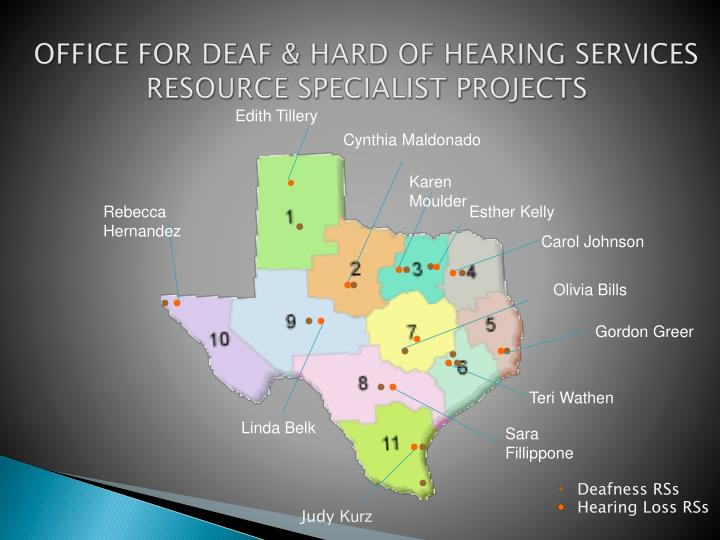Office for deaf hard of hearing services resource specialist projects