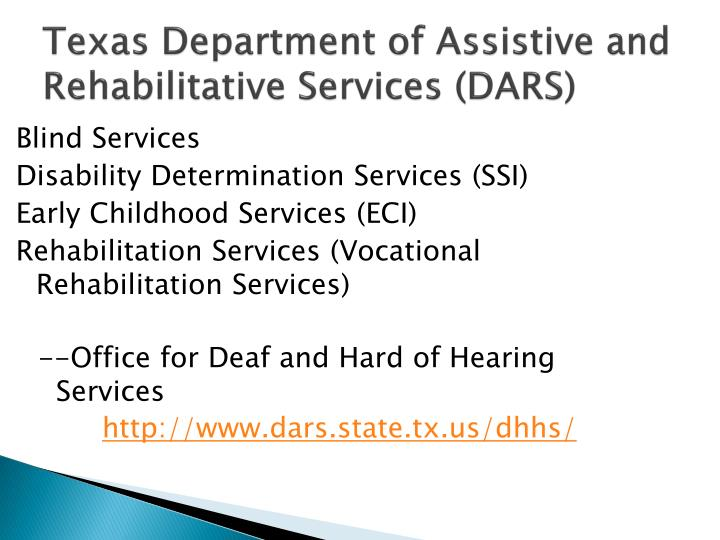 Texas department of assistive and rehabilitative services dars