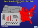 states reporting wnv positive dead birds 2001